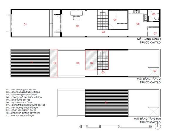 Mặt bằng nhà trước khi cải tạo. Không gian sống được bố trí hoàn toàn ở tầng 1. Một phần sân thượng được lợp mái tôn để gia chủ phơi quần áo hay có các hoạt động ngoài trời trên sân thượng.