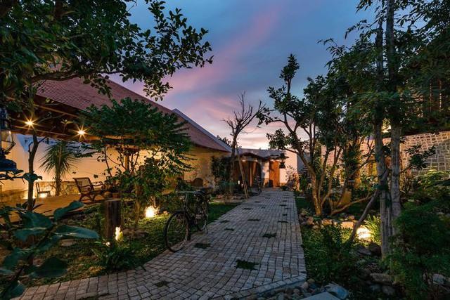 Với mong muốn tạo một ốc đảo xanh giữa phố thị, chủ nhà dành nửa già diện tích đất để làm sân vườn, diện tích xây dựng còn 220 m2.