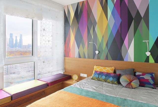 Nơi nghỉ ngơi đẹp hút mắt với tường sơn màu 3D.