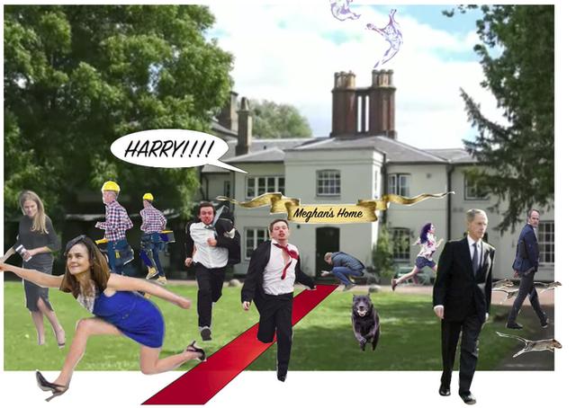 Ảnh chế Meghan khiến các nhân viên trong Cung điện hoảng loạn bỏ chạy.