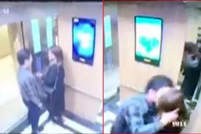 Hình ảnh chị V bị sàm sỡ trong thang máy được camera ghi lại