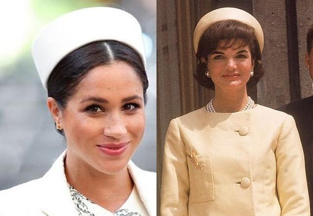 Chiếc mũ màu trắng Meghan nhái theo phong cách của bà Jackie O.