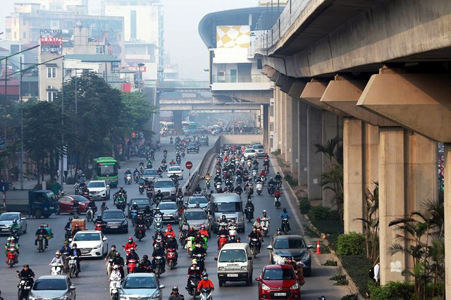 Đường Nguyễn Trãi nơi có tuyến tàu điện trên cao Cát Linh - Hà Đông sắp đi vào hoạt động.