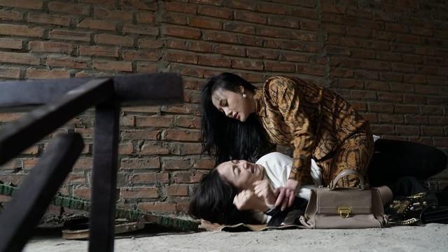 Phương Oanh trong một cảnh quay Nàng dâu order.