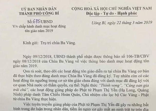 Công văn của UBND TP, Uông Bí ban hành yêu cầu chùa Ba Vàng chấm dứt cúng vong. Ảnh: Q.T