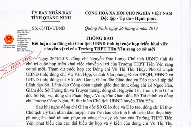 Công văn hỏa tốc của UBND tỉnh Quảng Ninh về nội dung cuộc họp liên quan đến chuyển vị trí trường THPT Tiên Yên. Ảnh: Đ.Tùy
