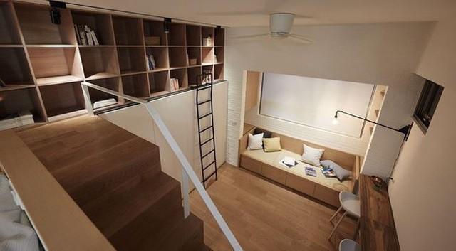 Những thiết bị như tủ bếp, tủ quần áo hay kệ sẽ được ẩn vào bên trong các bức tường để tránh lối đi và tiết kiệm diện tích. Phòng bếp và phòng tắm sẽ được thiết kế đơn giản và gọn nhẹ hơn để dành không gian cho phòng khách và bàn làm việc.