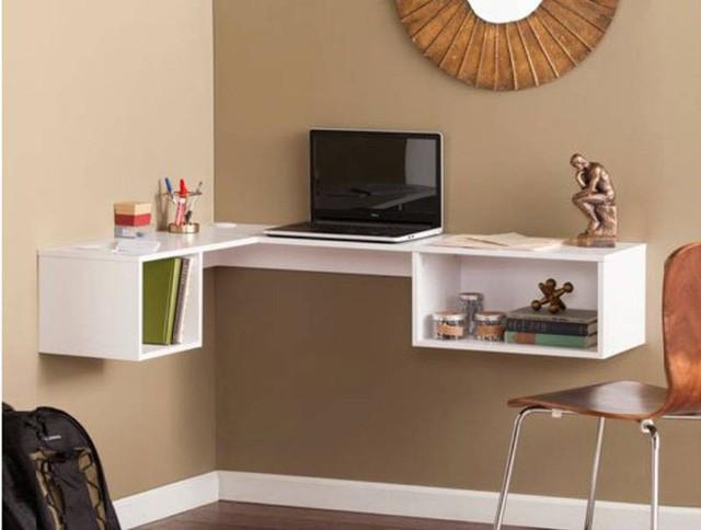 Bàn nổi này được gắn trên tường cho phép đặt thêm ghế, tạo không gian làm việc ngay trong nhà.