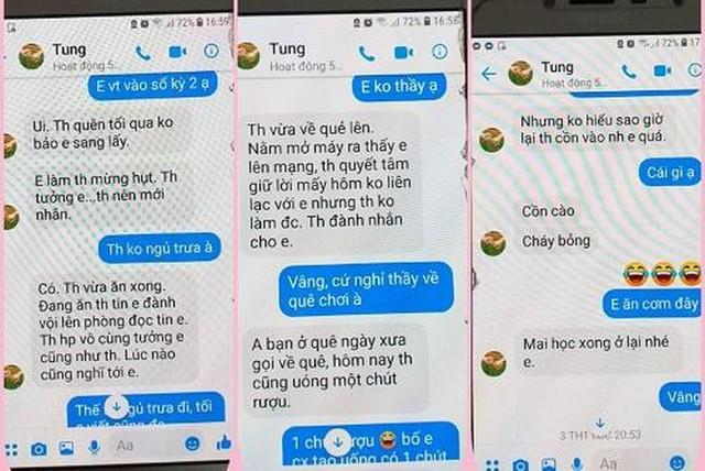 Một phần nội dung tin nhắn được các học sinh đưa lên mạng.