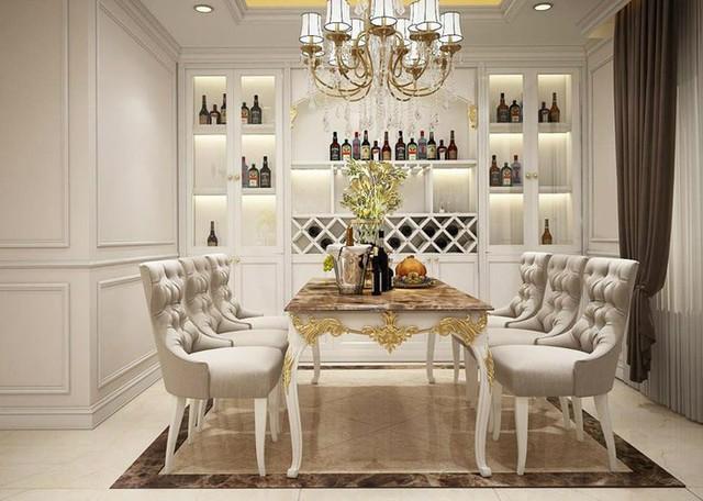 Phòng ăn bắt mắt với những chi tiết thiết kế vô cùng chỉn chu mang phong cách Châu Âu.