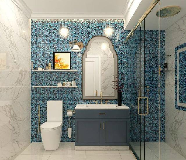 Phòng tắm cũng được trang trí tỉ mỉ, hài hoà về màu sắc.