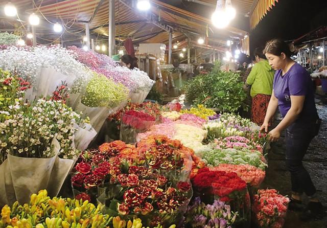 Từ sẩm tối, các hàng hoa đã rực rỡ sắc màu, chờ đón khách.