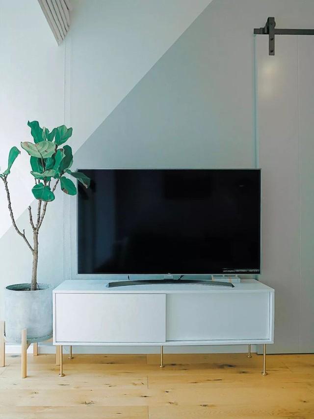 Kệ ti vi được đặt ở bức tường sơn hai màu tạo điểm nhấn độc đáo cho phòng khách.