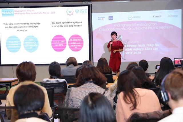 Bà Từ Thu Hiền, nhà sáng lập kiêm Giám đốc WISE cho biết trong chương trình tương tự năm 2018, 5 startups nữ đã gọi vốn được gần 1 triệu đô la.