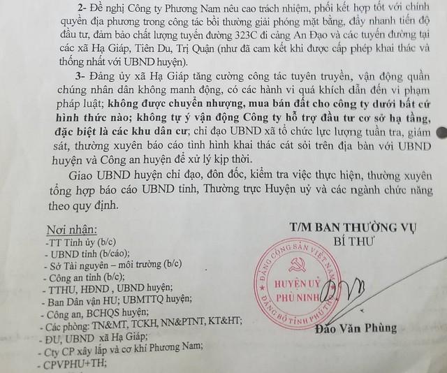 Kết luận của Thường trực Huyện ủy huyện Phù Ninh về các hoạt động của Công ty Phương Nam tại địa phương.