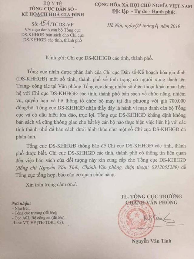 Công văn Tổng cục DS-KHHGĐ gửi Chi cục DS-KHHGĐ các tỉnh, thành phố về việc có người mạo danh Tổng cục để bán sách