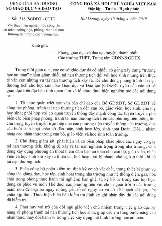 Công văn của Sở GD&ĐT tỉnh Hải Dương sau khi xảy ra vụ việc tại trường THCS Văn Tố. Ảnh: Đ.Tùy