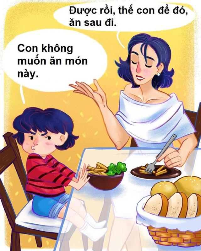 Đối phó trẻ kén ăn: Ăn uống là nhu cầu cơ bản của con người. Trẻ sẽ tự cho người lớn biết chúng muốn ăn khi nào, bao nhiêu. Đừng ngại để con đói vì nó giúp chúng thiện cảm với thức ăn. Cho trẻ tham gia vào quá trình mua thực phẩm, nấu ăn cũng là cách tốt để đối phó với chứng biếng ăn.