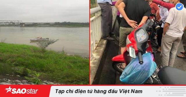 Đoạn sông nơi xảy ra sự việc và nhiều người tập trung trên cầu Hồ nơi nạn nhân tự tử.