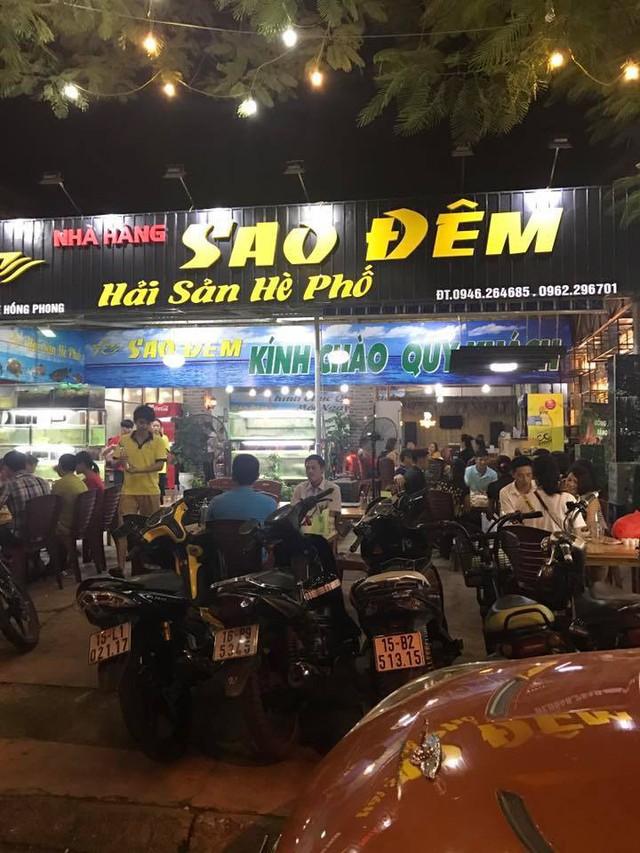 Nhà hàng Sao Đêm nơi xảy ra vụ nổ súng, đuổi đánh gây thương tích 4 người đêm 17/4. Ảnh: Nguồn SĐ