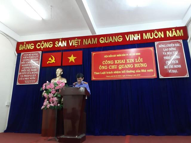 VKSND TP.HCM gửi đến ông Hưng lời xin lỗi chân thành, mong ông và gia đình chấp nhận lời xin lỗi