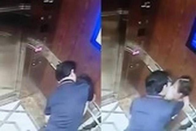 Hình ảnh bị can Nguyễn Hữu Linh đang có hành vi dâm ô bé gái trong thang máy
