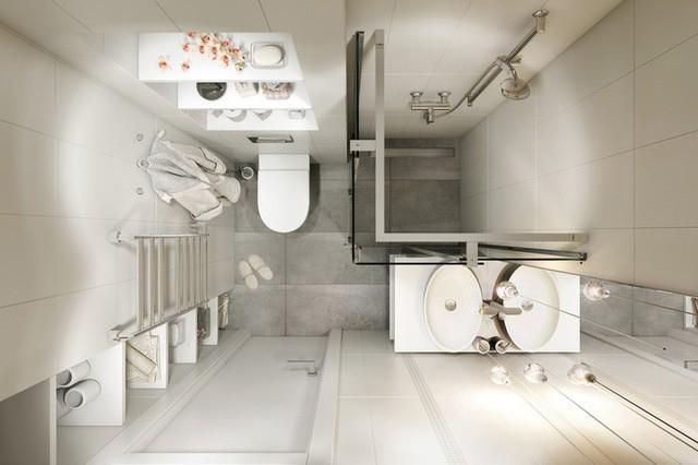 Đây là hình ảnh phòng tắm nhìn từ trên cao, trông cực nhỏ mà lại rất ấn tượng đúng không nào? Điều đó chứng tỏ căn hộ này rất biết tận dụng từng chi tiết để tạo nên nét cá tính của riêng mình.