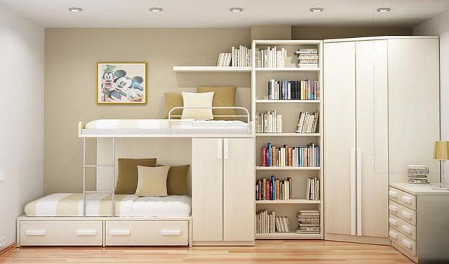Một thiết kế giường tầng đơn giản lấy chất liệu gỗ và màu trắng hiện đại làm điểm nhấn.