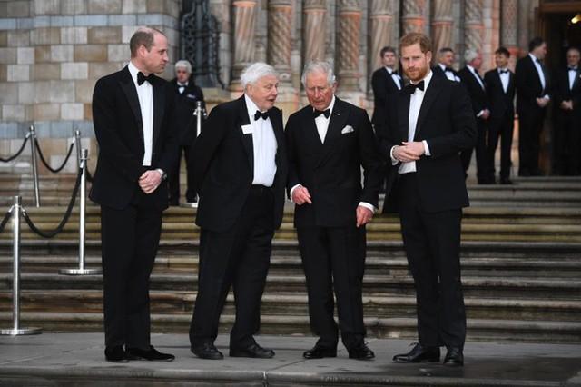 Hai hoàng tử Anh cùng Thái tử Charles tới sự kiện ở Bảo tàng Lịch sử Quốc gia tối 4/4. Ảnh: PA.
