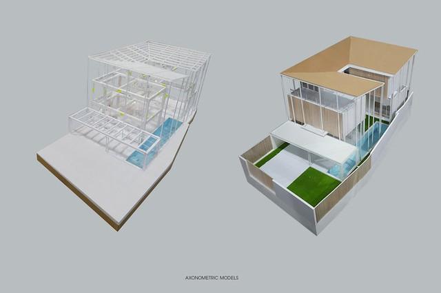 Kiến trúc sư quyết định thiết kế một ngôi nhà 3 tầng với các khối không gian so le nhau theo cả chiều ngang và chiều cao, cho phép nhìn xuyên từ phòng này sang phòng khác.