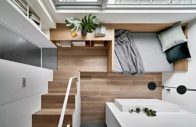 Cửa trượt dạng lưới có thể ngăn cách phòng bếp với khu vực sinh hoạt cá nhân.