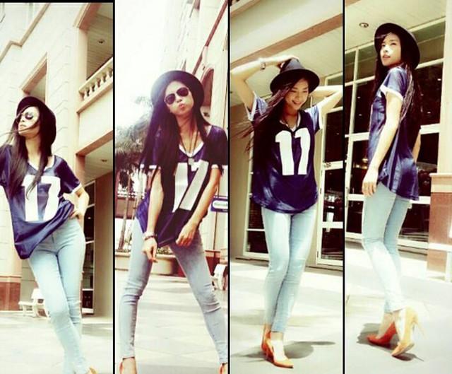 Không chỉ kết hợp dễ dàng với trang phục thanh lịch, Ngô Thanh Vân còn cá tính hơn với cách mix cùng áo thun, quần jeans mạnh mẽ, phủi bụi.