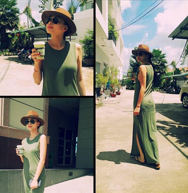 Ngô Thanh Vân chứng tỏ gu thẩm mỹ với cách kết hợp cùng nhiều kiểu dáng trang phục, váy chất liệu thun khi dạo phố chất hơn với phụ kiện fedora.