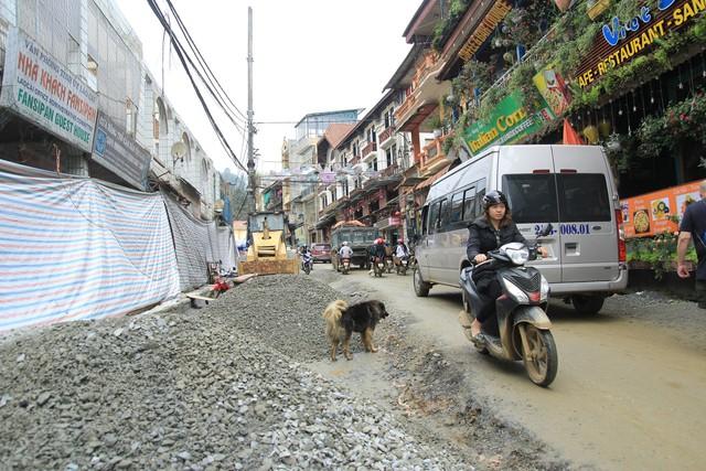 Công trình cải tạo đường tại khu vực phố Cầu Mây nối với đường Mường Hoa.