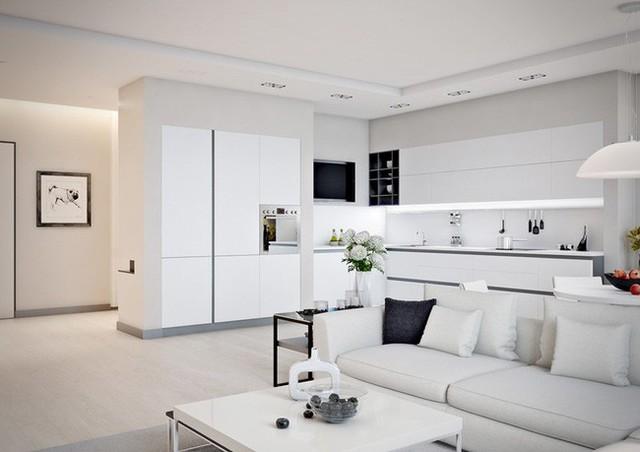 Bức tường trắng và sàn gỗ sáng khiến căn hộ trông rộng hơn.