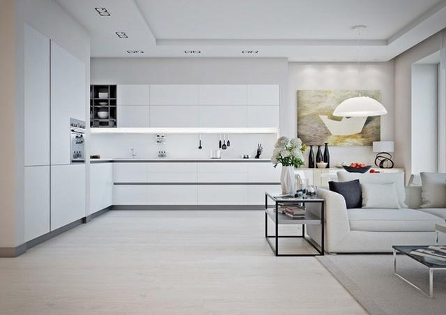 Bếp nấu đặt sau phòng khách thuận tiện cho việc tiếp đãi bạn bè hoặc có thể vừa nấu nướng vừa trò chuyện.