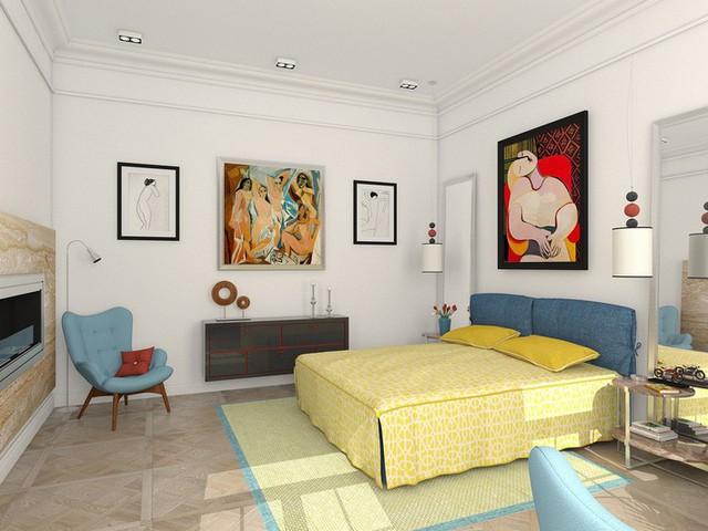 Những bản tranh chép của Picasso trong ngôi nhà này gồm bức Les Demoiselles dAvignon (1907) và Giấc mơ (1932). Thậm chí những hình dạng của những món đồ nội thất cũng phản ánh những đường cong tuyệt đẹp được ghi lại trong các bức tranh.