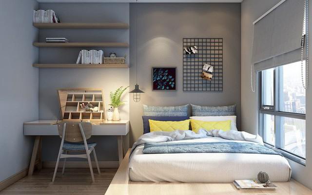 Phòng ngủ gam màu tươi sáng, tràn ngập ánh sáng tự nhiên.