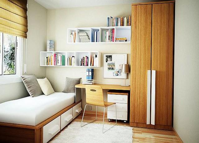 Phòng ngủ với giường ngăn kéo thông minh để đồ.