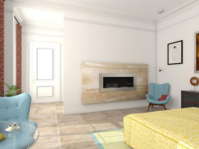 Một bức tường phân vùng mỏng chứa một lò sưởi bao quanh bằng đá, tạo nên nét cổ điển và nghệ thuật phù hợp với phần còn lại của căn phòng.