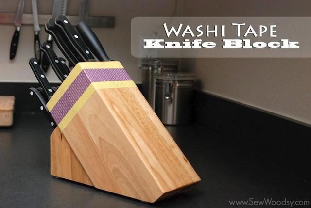 5. Hộp đựng dao sử dụng băng washi để trang trí, đem lại cái nhìn mới mẻ.