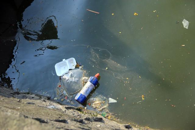 Hình ảnh ô nhiễm tại Hồ Tây, khu vực ngoài phạm vi biệt lập thí điểm máy xử lý ô nhiễm.
