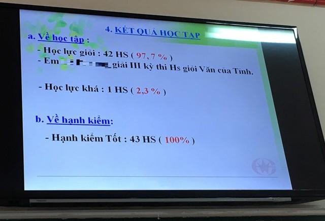 Lớp của cháu anh Hùng có 43 học sinh nhưng có đến 42 em đạt loại giỏi. Ảnh: NVCC.