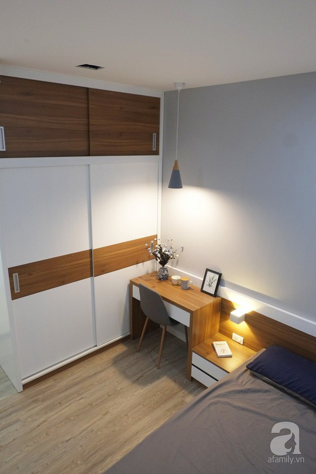 Phòng ngủ được bố trí nội thất gỗ công nghiệp cao cấp.