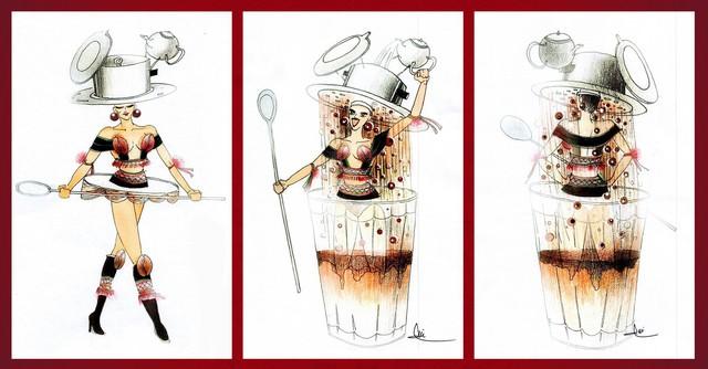 """Café phin là hình thức pha chế café bình dân và đại chúng của Việt Nam. Trong đó, Café phin sữa đá là thức uống được chấp nhận bởi nhiều lứa tuổi, giới tính… và từ lâu đã thu hút sự quan tâm của bạn bè quốc tế. Đó là lý do mà Trần Nguyễn Minh Đức mang bài thi """"Café phin sữa đá"""" đến với cuộc thi với mong muốn giới thiệu văn hóa uống cà phê của Việt Nam đến bạn bè quốc tế. Bài thi đề cao yếu tố trình diễn với phần bật công tắc và rút dây xõa váy, tạo hiệu ứng giọt cà phê rơi xuống."""