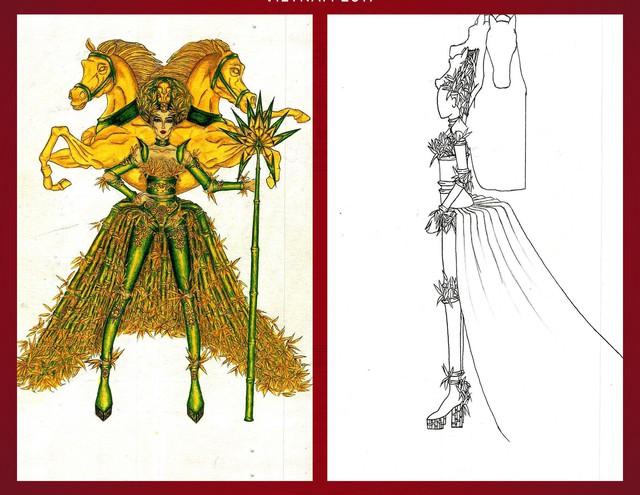 """Từ câu chuyện truyền thuyết """"Thánh Gióng"""" quen thuộc của người dân Việt Nam, Trương Kiều Vi đã tái hiện thành bài thi """"Gióng"""" với hình ảnh tre làm nòng cốt, phối giữa màu xanh và vàng. Vẻ đẹp nữ quyền được thể hiện rõ qua phần lưng có hai con ngựa trời khổng lồ, cùng chiếc gậy tre và phần váy choàng bằng tre. """"Đâu chỉ có đàn ông mới trở thành anh hùng cứu nước, phụ nữ cũng có thể!"""" là thông điệp mà Kiều Vi muốn gửi gắm qua bài thi này."""