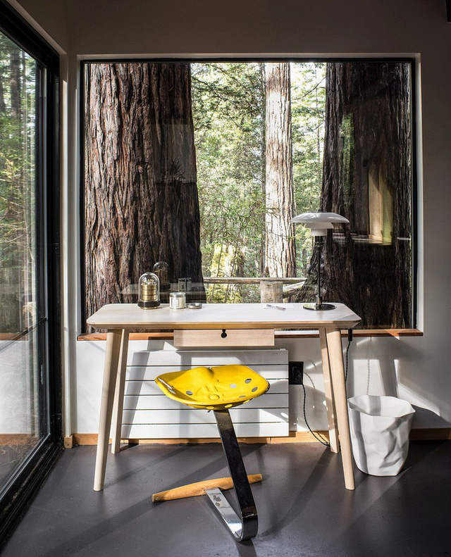 Những thân gỗ lớn và khung cảnh rừng khổng lồ bên ngoài ngôi nhà khiến góc làm việc trở nên kì vĩ và tuyệt vời hơn.