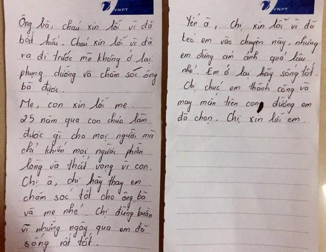 Lá thư của nạn nhân để lại. Ảnh: T.Hương