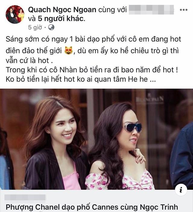 Facebook Quách Ngọc Ngoan khá say sưa với những tranh luận về Ngọc Trinh và Lý Nhã Kỳ