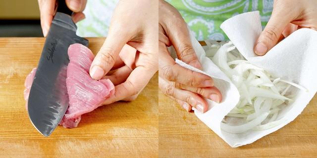 Táo rửa sạch thái sợi, sau đó ngâm trong nước lạnh cho giòn rồi vớt ra để ráo nước. Cho các nguyên liệu phần xốt vào bát hòa tan.